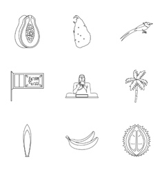 Holiday in Sri Lanka icons set outline style vector