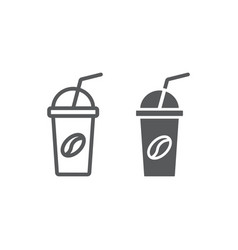 ice coffee line and glyph icon coffee and cafe vector image