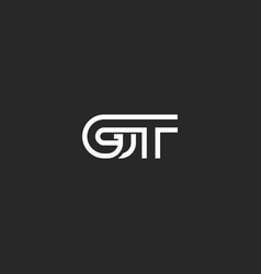 initials gt letter logo monogram two weaving vector image