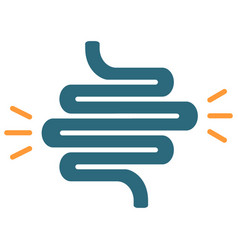 Intestine with acute pain colored icon ulcerative vector