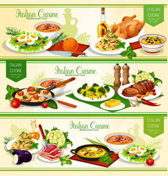 Italian cuisine pasta with meat fish and cheese vector