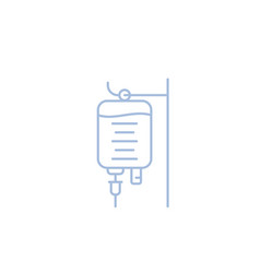 Iv bag medical drip isolated linear icon vector