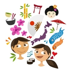 japan culture icon set vector image