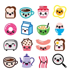 Kawaii breakfast food and beverages cute vector