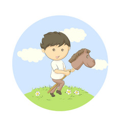 kid plaing on grass vector image