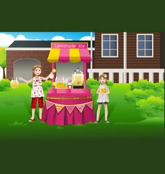Kids selling lemonade vector