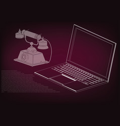 laptop and phone vector image