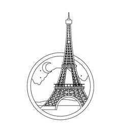 line eiffel tower paris at night with moon vector image