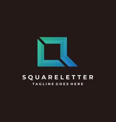 logo square letter q gradient colorful vector image