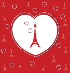 love hearts on red with eiffel tower vector image