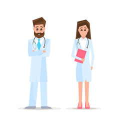 male and female doctors isolated on white vector image
