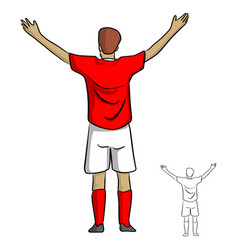 Male soccer player in red jersey shirt spread the vector