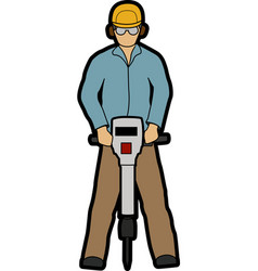 Man with jackhammer vector