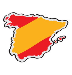 map of spain with its flag vector image