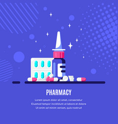 medicine bottle with nasal drops and pills vector image