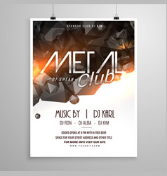 Metal club music party flyer poster vector