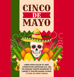 Mexican cinco de mayo card with skull in sombrero vector