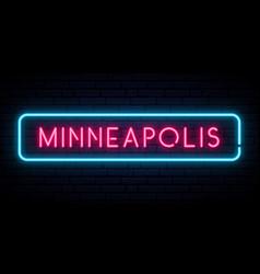 Minneapolis neon sign bright light signboard vector