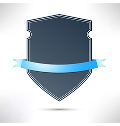 Modern badge with blue ribbon template vector