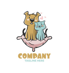 modern logo pets cat and dog on pillow vector image