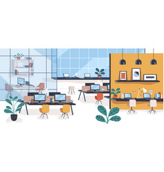 modern office or open space with desks computers vector image