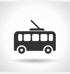 monochromatic trolleybus icon with hovering vector image