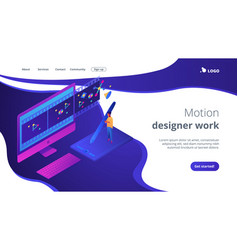 motion graphic design isometric 3d landing page vector image
