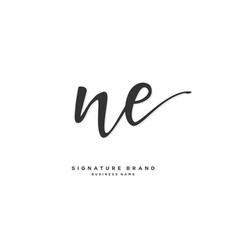 N e ne initial letter handwriting and signature vector