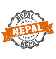 Nepal round ribbon seal vector