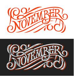November vintage lettering on chalkboard vector