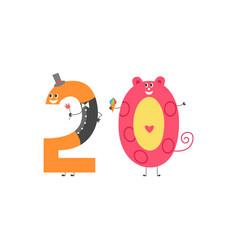 Number twenty cartoon character for teaching vector