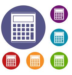 Office school electronic calculator icons set vector