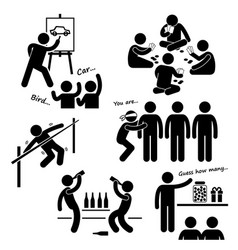 Party recreational games stick figure pictograph vector