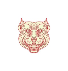 Pitbull Dog Mongrel Head Mono Line vector