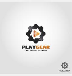 play gear - auto multimedia logo template vector image