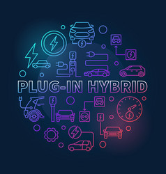 plug-in hybrid round colored vector image