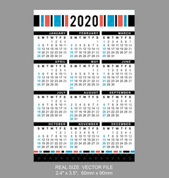 Pocket calendar 2020 start on sunday vector