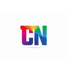 Rainbow colored alphabet combination letter cn c vector
