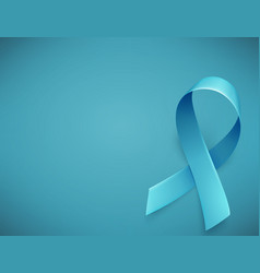 Realistic blue ribbon symbol of prostate cancer vector