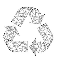 recycling sign with three arrows from futuristic vector image