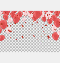 red balloons confetti serpentine or ribbons vector image
