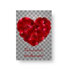 Red rose petals in shape heart vector