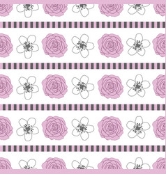 roses and stripes-flowers in bloom seamless vector image