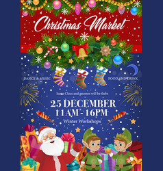 santa claus and elves christmas festive market vector image