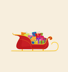 santa sleigh with piles of presents vector image