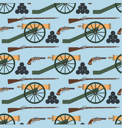 Seamless pattern with cannons rifles and pistols vector
