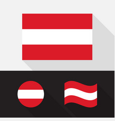 Set austria flag flat design vector