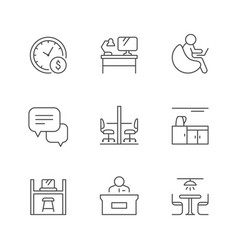 set line icons co-working vector image