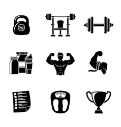 Set of Bodybuilding icons with - dumbbell weight vector image