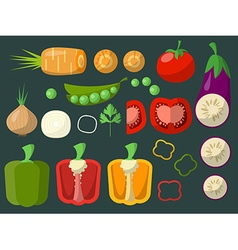 Set of chopped vegetables on a green background vector